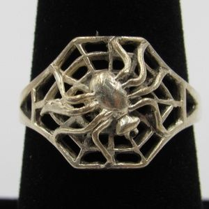 Vintage Size 7.75 Sterling Spider In A Web Ring